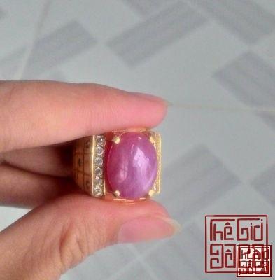 Nhẫn nam đính Ruby Sao Lục Yên (sao kép)