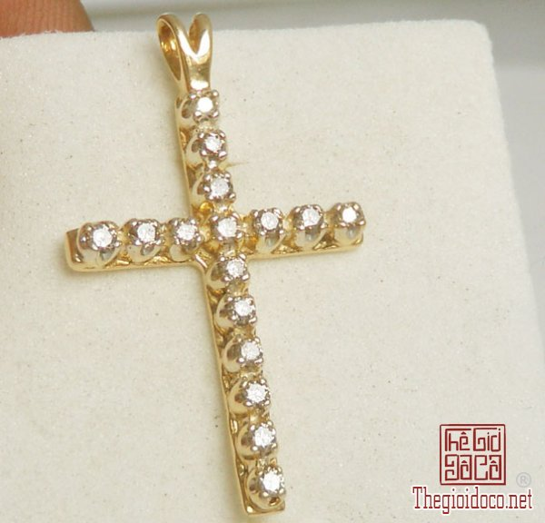 Mặt dây The Cross Pandent 10k Gold Diamond Hand made Italy (1).jpg