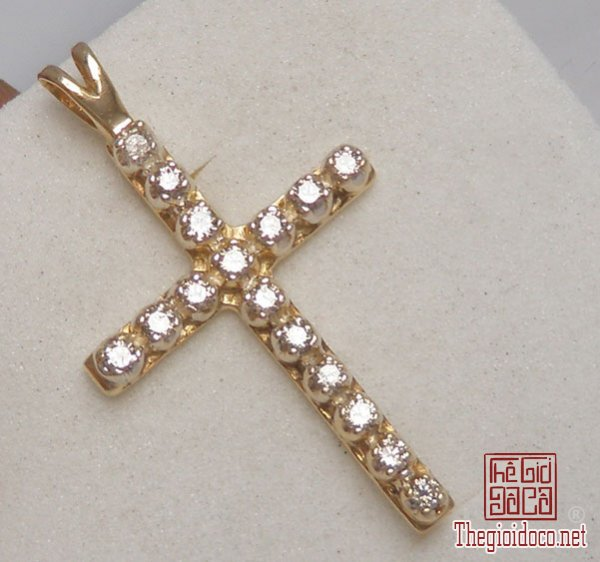 Mặt dây The Cross Pandent 10k Gold Diamond Hand made Italy (2).jpg
