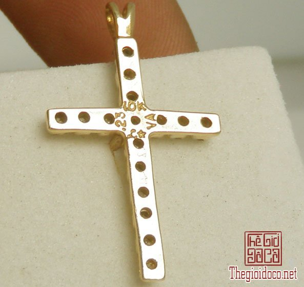 Mặt dây The Cross Pandent 10k Gold Diamond Hand made Italy (3).jpg
